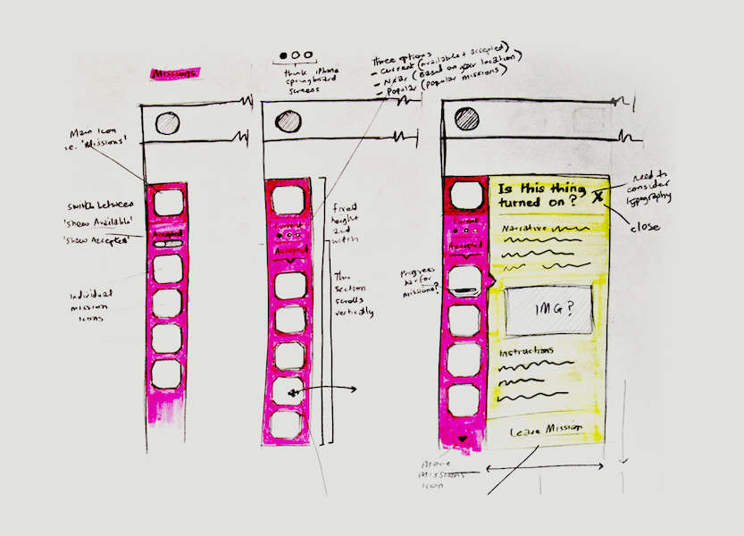 Sketches of interface elements