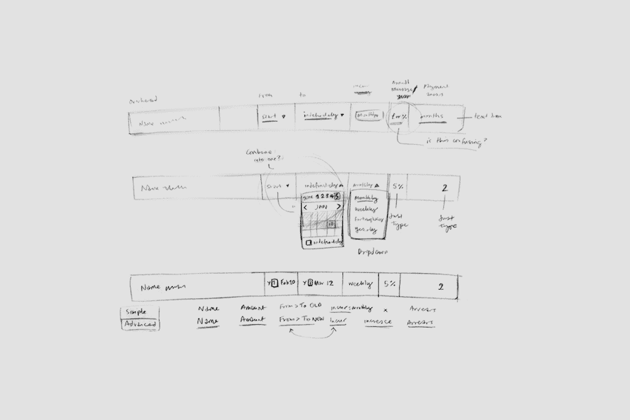 Detailed interface sketches