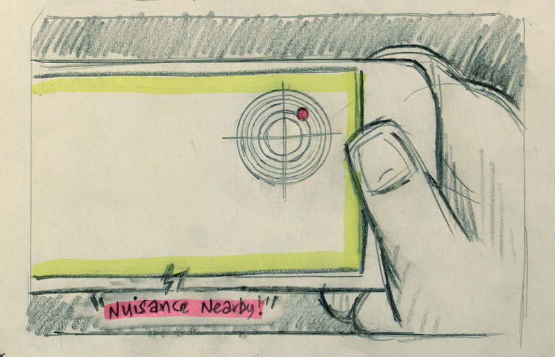 Sketch of a person holding a phone with a radar icon on it