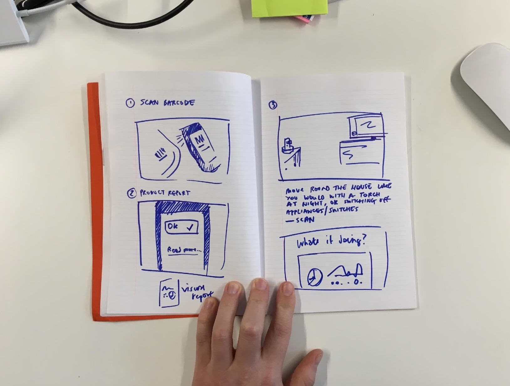 Open notebook showing storyboard sketches